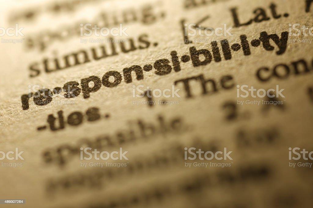 Dicionário série de responsabilidade - foto de acervo