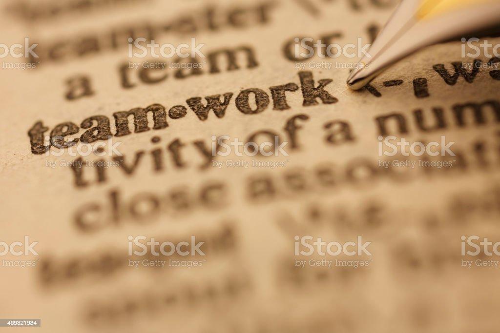 Dictionary Series : Teamwork stock photo