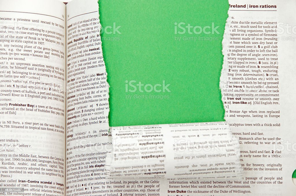 Dictionary with Green Copy Space royalty-free stock photo