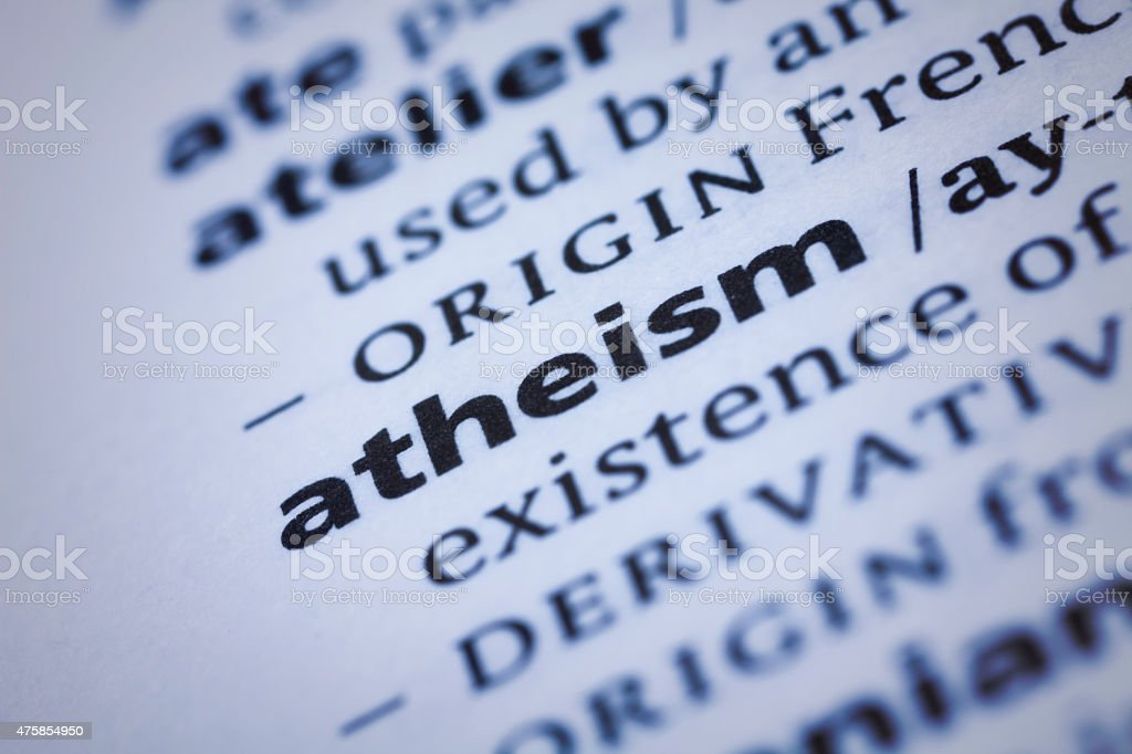 Dictionary word close-up of Atheism stock photo