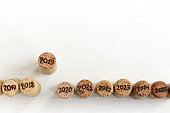 cork wine stoppers with different digits indicate the year a top view