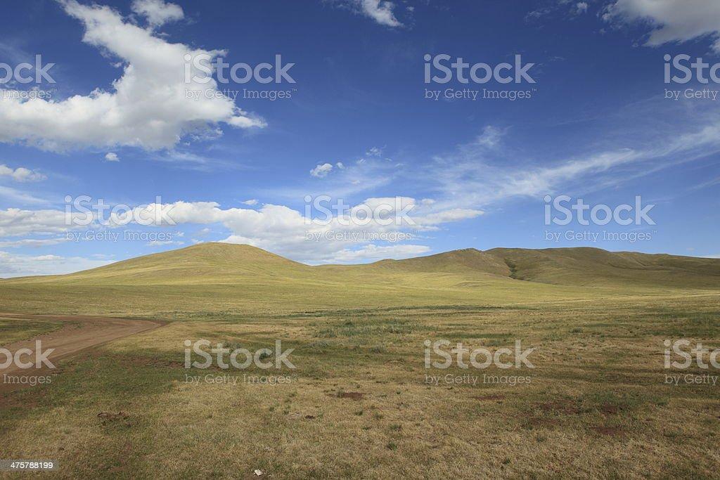 Die mongolische Steppe im Orkhon Tal stock photo