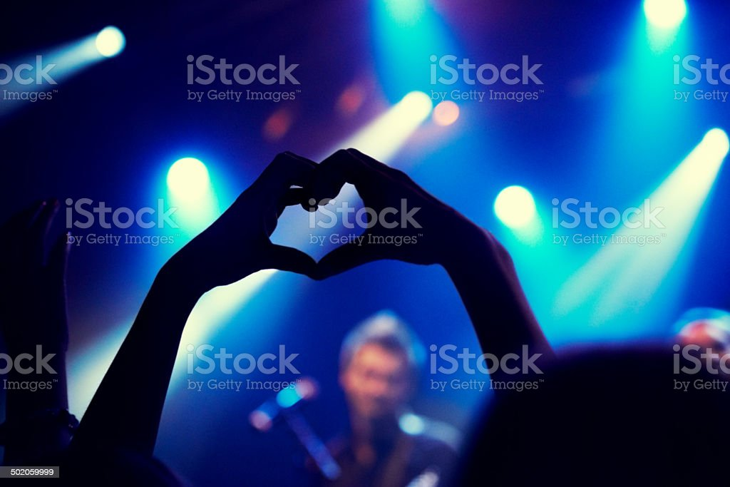 Die-hard groupie stock photo