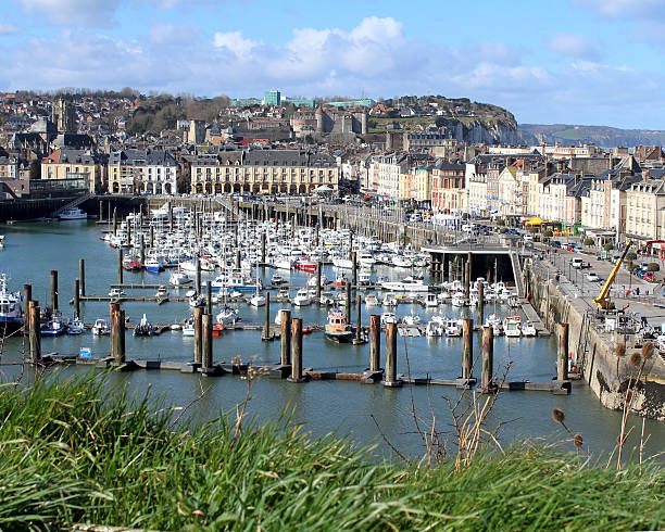 Dieppe Harbour View of the town of Dieppe and its picturesque harbour in Normandy, France. dieppe france stock pictures, royalty-free photos & images