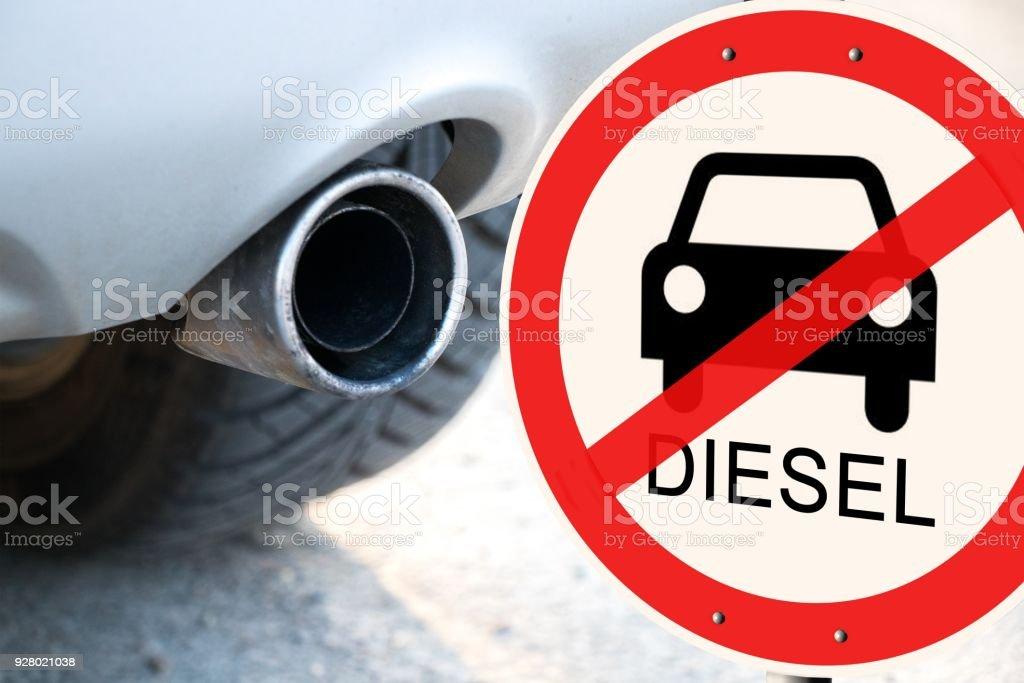 Diesel fahren verbieten Euro-6 - deutsche Straßenschild mit dem deutschen Text
