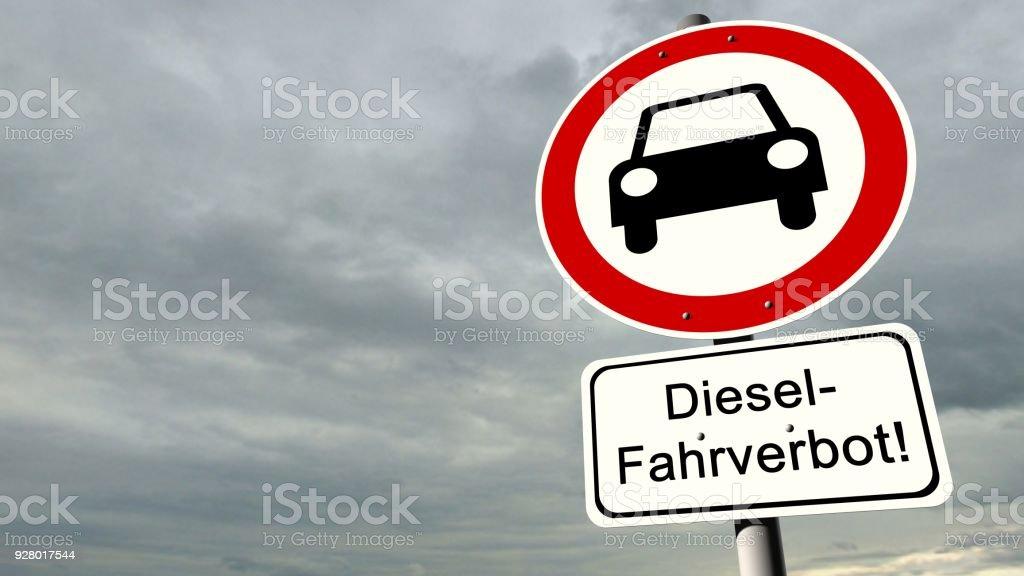 Fahrverbot für Diesel - deutsche Verkehrszeichen mit dem deutschen Text