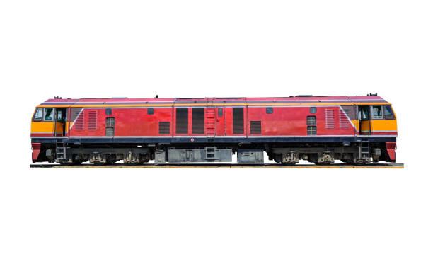 diesel-elektriskt lok isolerade på vitt. - järnvägsvagn tåg bildbanksfoton och bilder