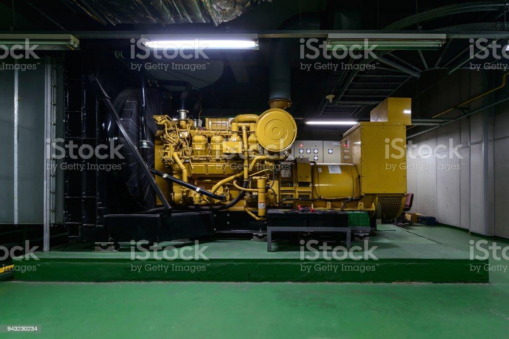 diesel engine generator in the basement stock photo