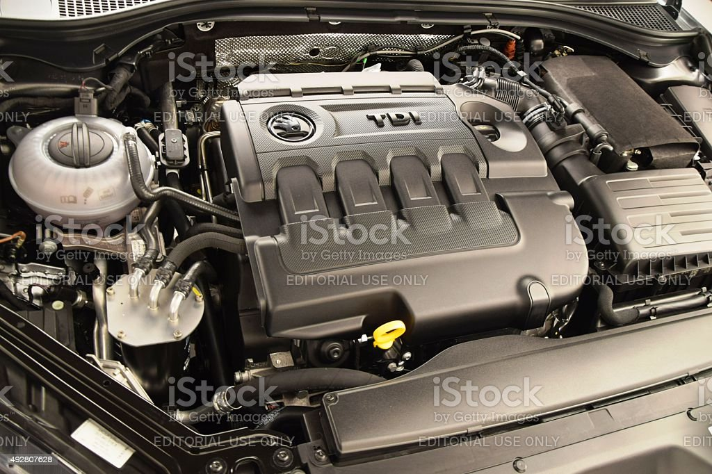 Diesel engine in a car Prague, Czech Republic – February 10th, 2015: Diesel engine in the third generation of Skoda Superb car. Diesels are the most popular engines in this model. 2015 Stock Photo