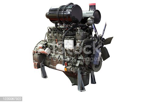 841283930 istock photo Diesel engine with isolated white background 1220067322