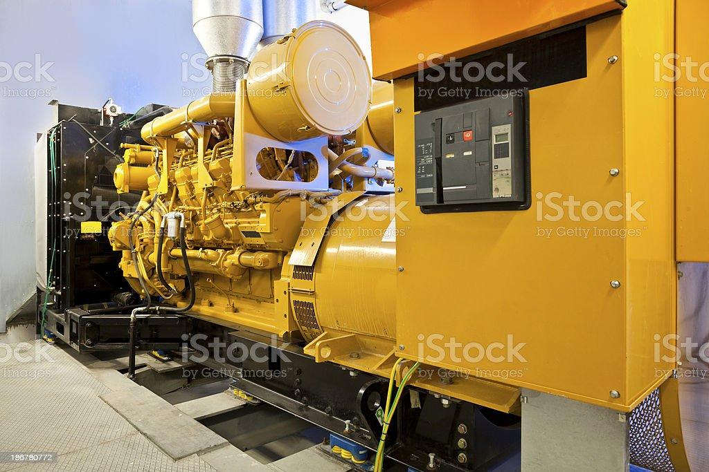 Diesel power generators stock photo