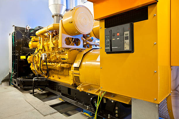 Diesel power generators stock photo