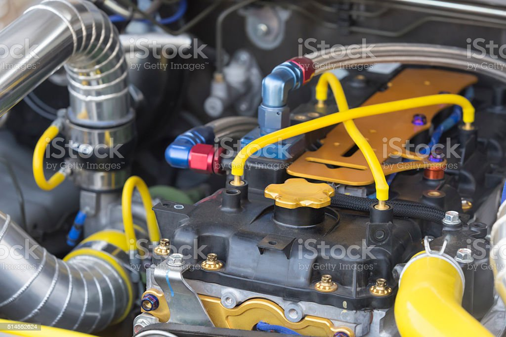 Diesel racing car engine stock photo