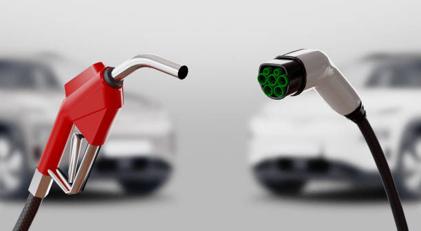 Diesel versus electric. Gas or electric station. 3d rendering stock photo