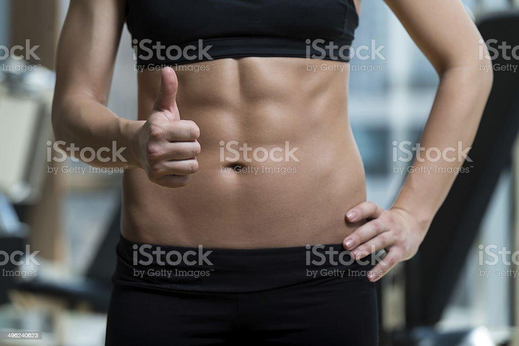 Concepto de dieta y ejercicios - Foto de stock de Músculo abdominal libre de derechos