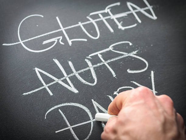 diet and nutrition concept - food allergies stock photos and pictures