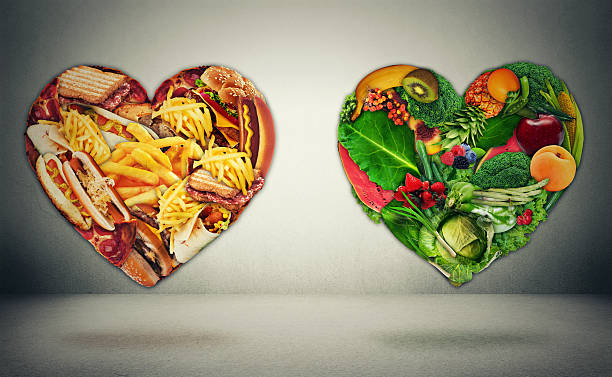diet choice dilemma and heart health concept - metabolic syndrome stock photos and pictures