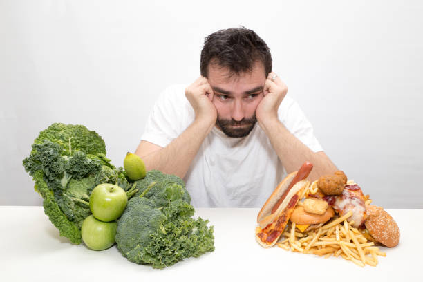 Diet decision and nutrition choice stock photo