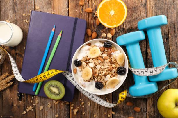 diyet gıda kavramı, kahvaltı - sağlıklı beslenme stok fotoğraflar ve resimler
