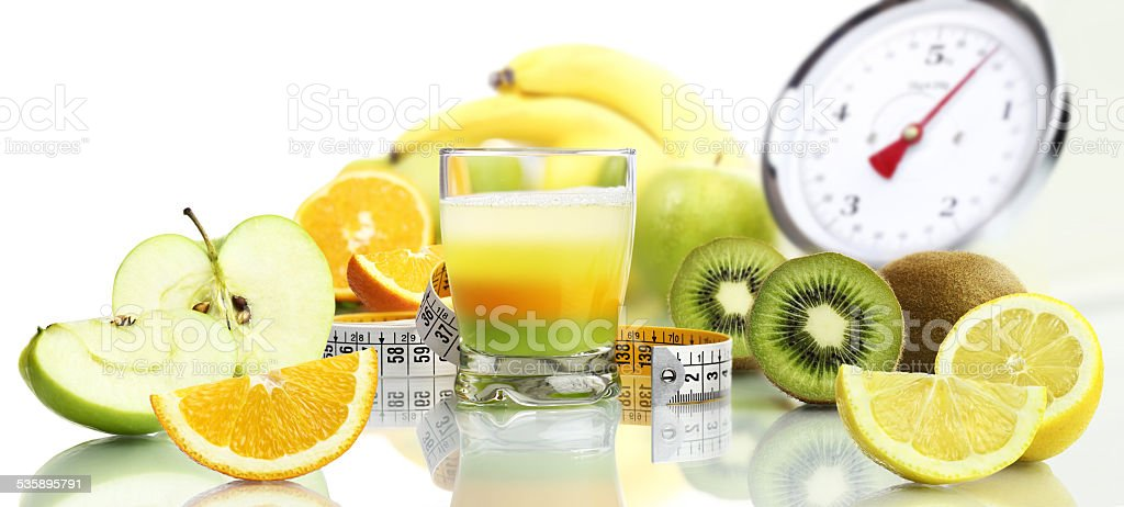 diet food concept vitamins mixed fruit drink stock photo