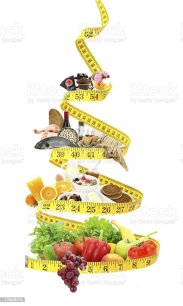 Diet food pyramid with measure tape stock photo