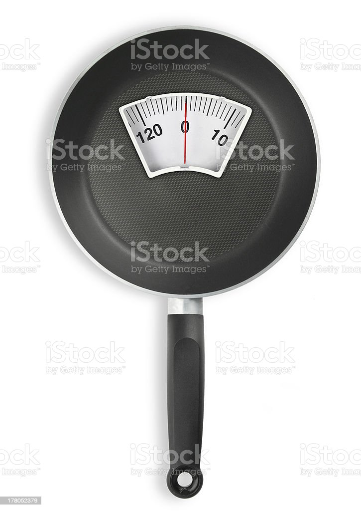 Diet meal. Frying pan with weight scale royalty-free stock photo