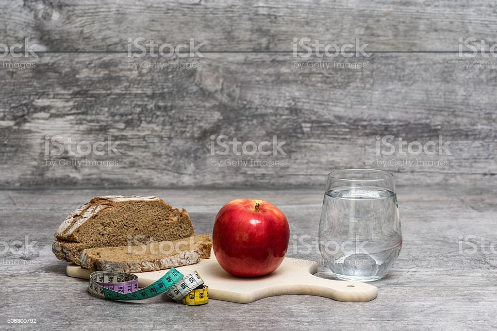 Diet Meal Wooden Grey Background stock photo