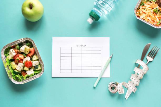 ernährungsplan für ernährung - menüplanung vorlagen stock-fotos und bilder