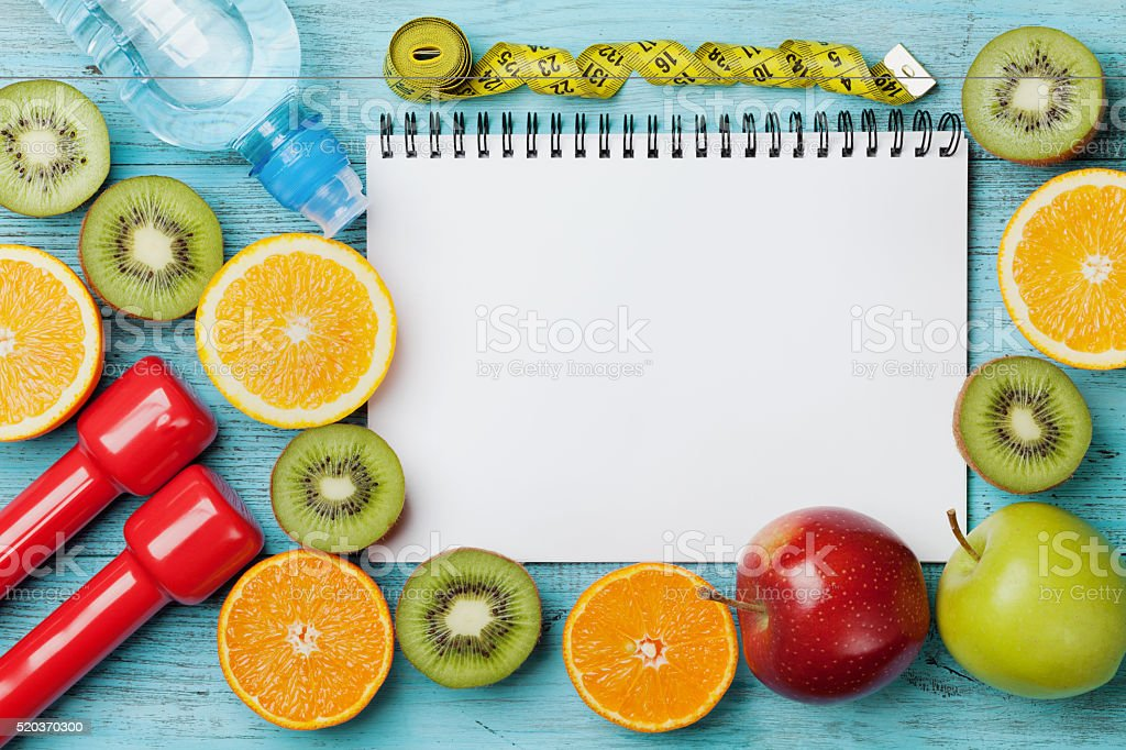 Diet plan, menu or program, weight loss and detox concept stock photo