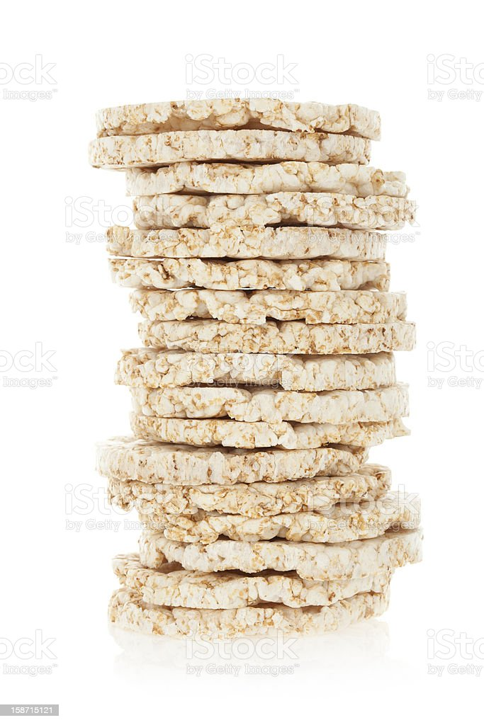 Diet rice cakes pile isolated on white stock photo