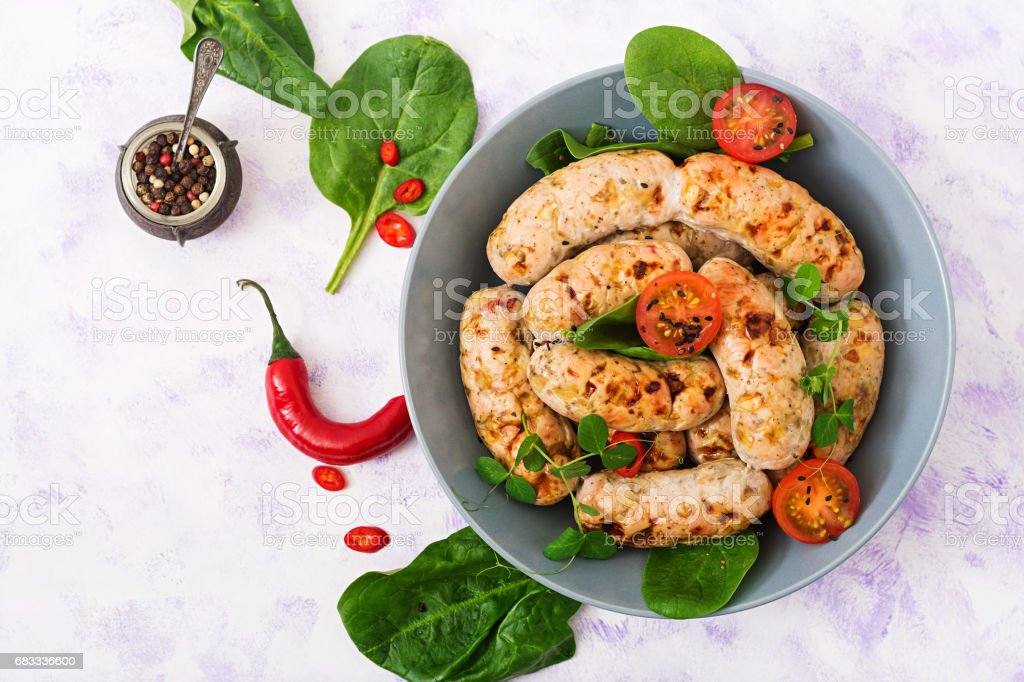 Dietary sausages from turkey fillet and mushrooms. Flat lay. Top view royalty-free stock photo