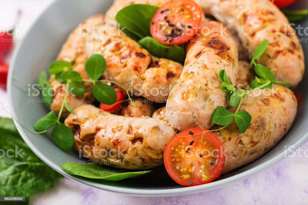 Dietary sausages from turkey fillet and mushrooms. royalty-free stock photo