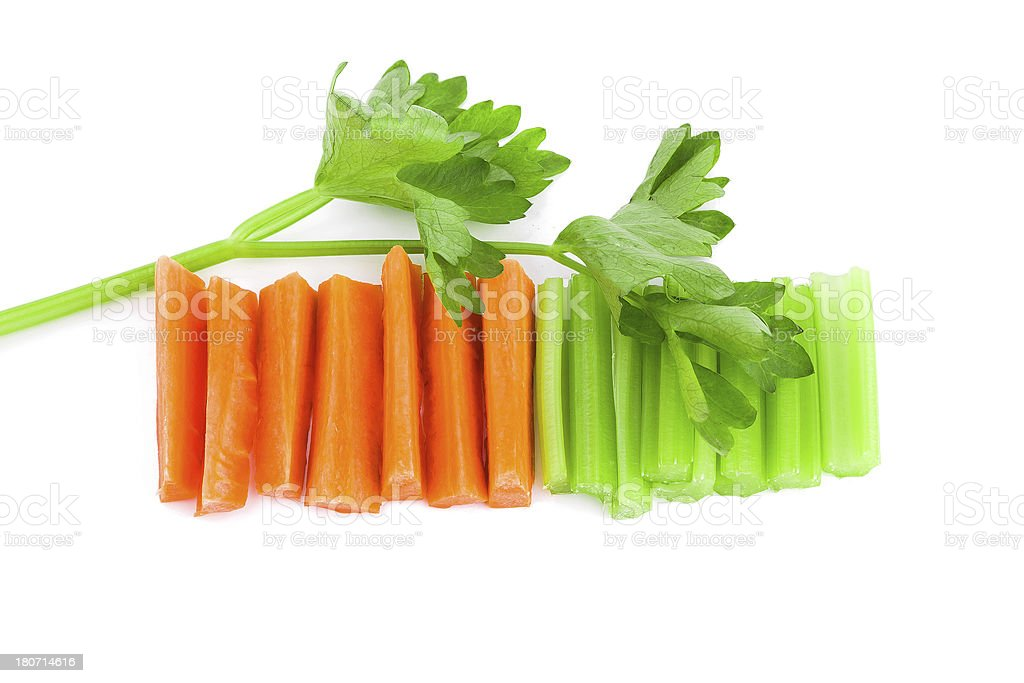 diet:celery and carrot isolated  white background royalty-free stock photo
