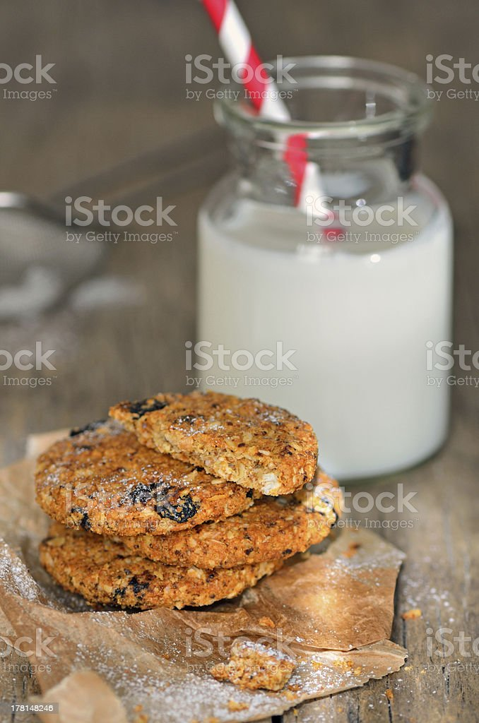 dietetic biscuits and milk royalty-free stock photo