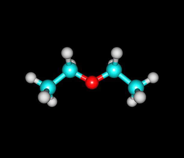 diethyl éther molécule isolé sur noir - éther photos et images de collection