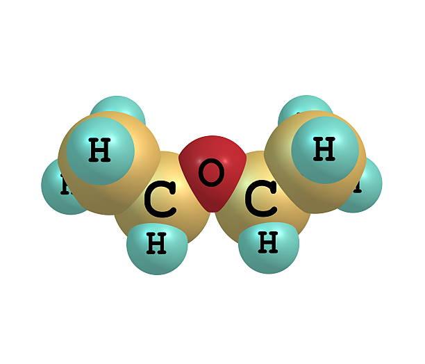 diethyl éther molécule isolé sur blanc - éther photos et images de collection