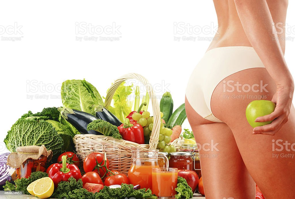 Dieting. Balanced diet based on raw organic vegetables stock photo