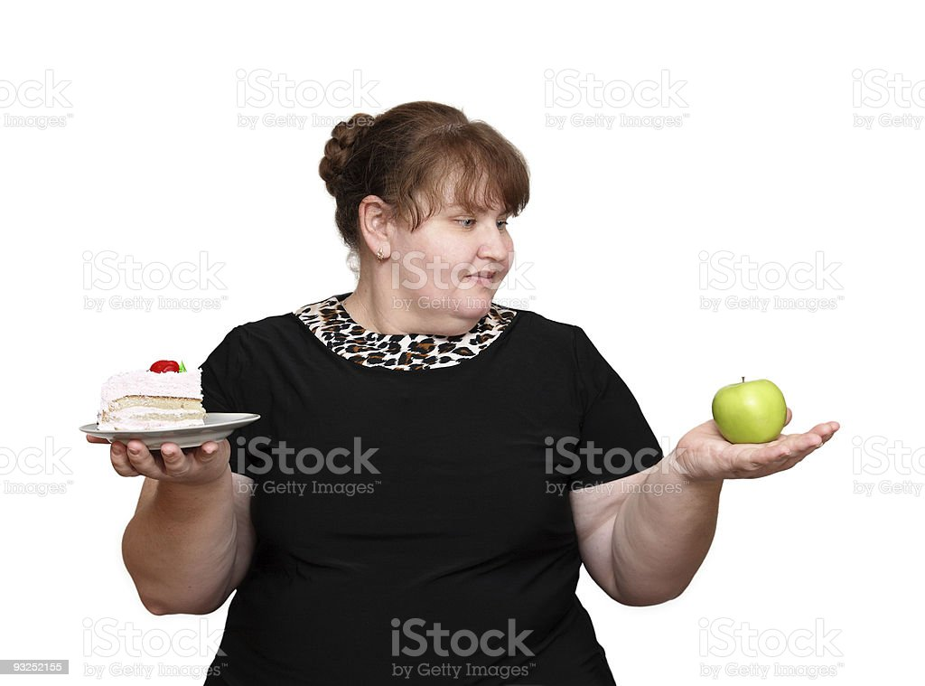 dieting overweight women choice royalty-free stock photo