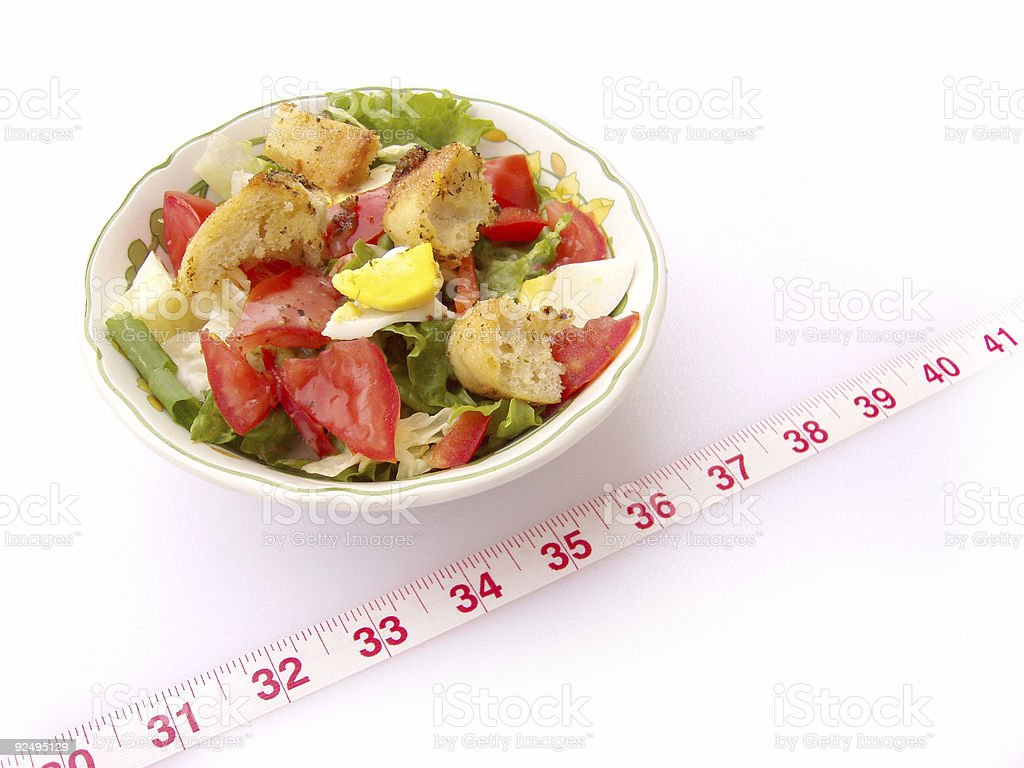 Dieting - Salad with Measuring Tape (Part 2) royalty-free stock photo