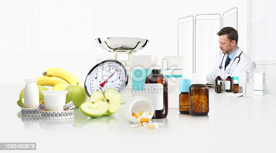 1175869940istockphoto dietitian nutritionist doctor prescribes prescription sitting at the desk office with apple, yogurt, medical drugs, tape meter and scale, healthy and balanced diet concept, web banner and copy space template 1093490878