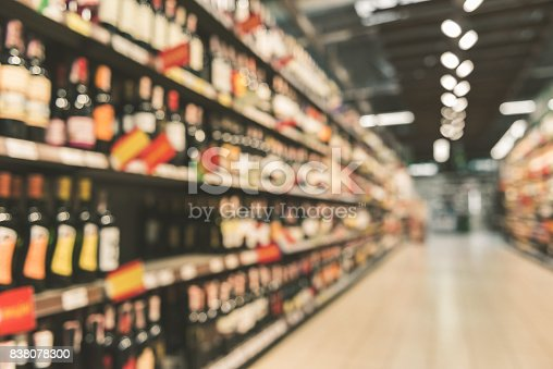 istock Different alcohol bottles in supermarket 838078300