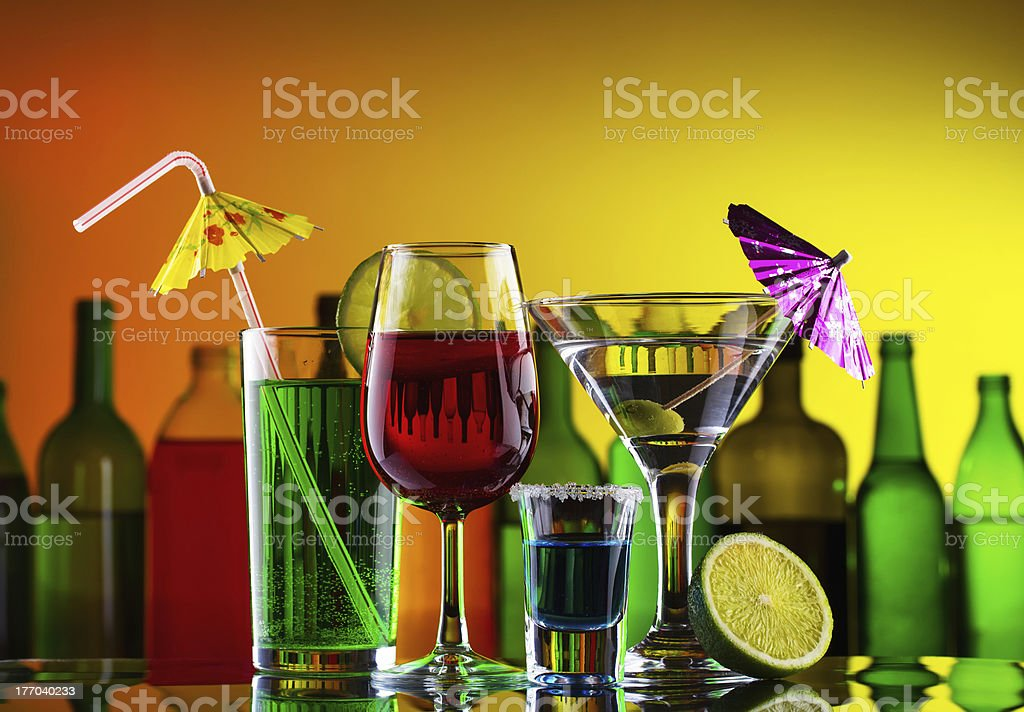 Different alcohol drinks and cocktails royalty-free stock photo