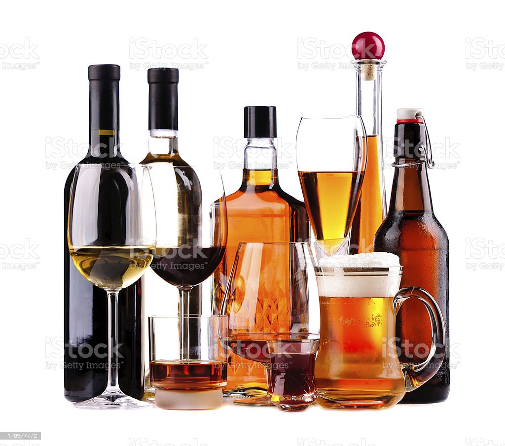 Different alcoholic drinks stock photo