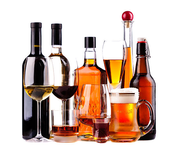 different alcoholic drinks - dipsomania stock pictures, royalty-free photos & images