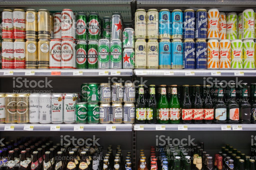 Different ales in a market stock photo