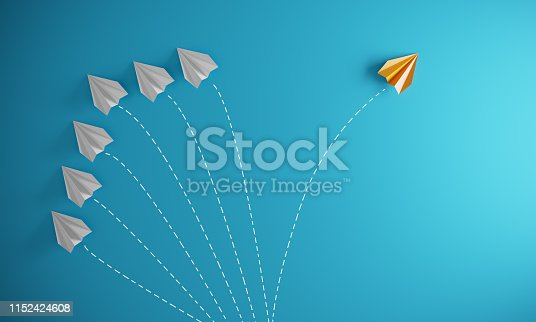 Group of paper airplane in one direction and with one individual pointing in the different way, can be used leadership/individuality concepts.( 3d render )
