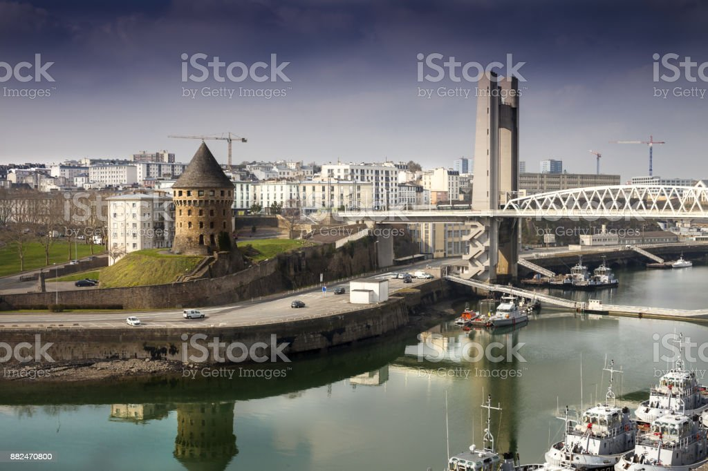 Different architecture styles from different ages in Brest, France stock photo