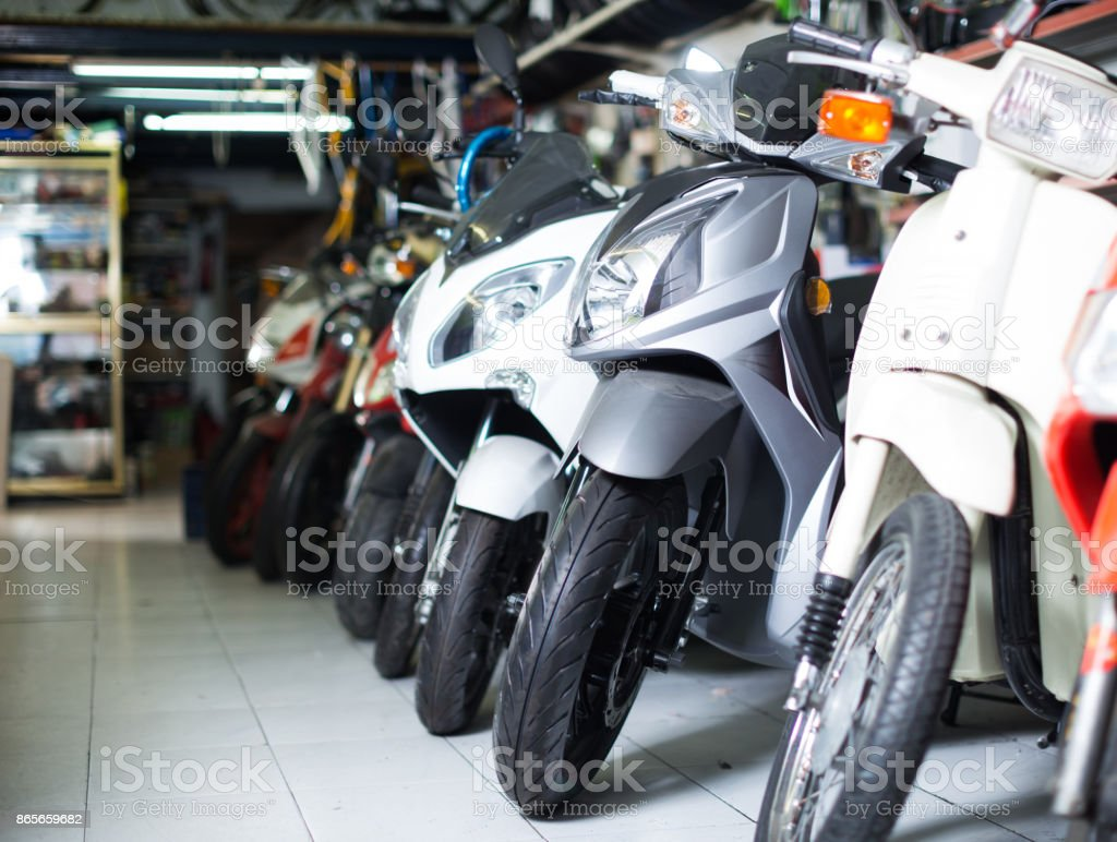 different assortment iron bikes selling in the market stock photo