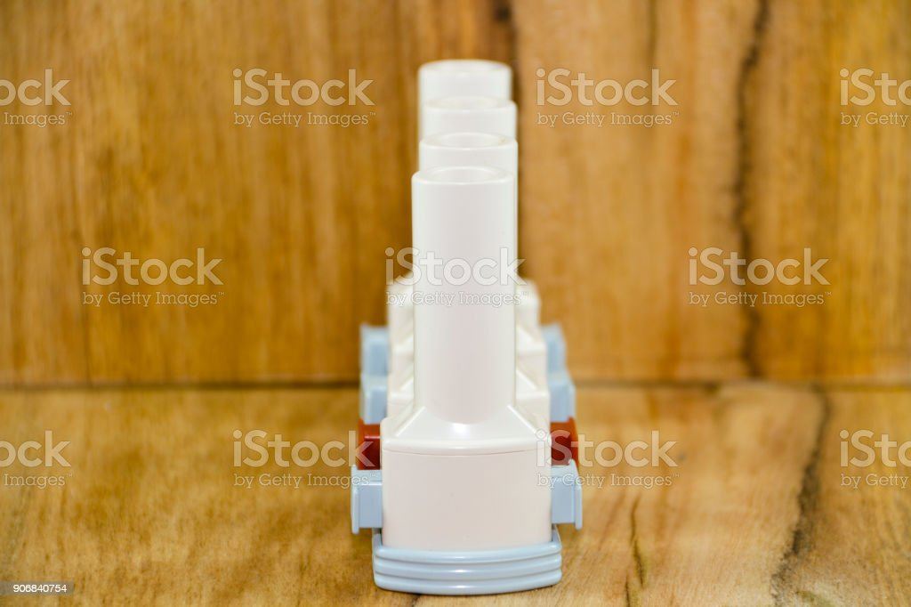 Different Asthma Inhaler stock photo