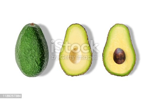 Different avocado isolated on white background. Minimal concept.